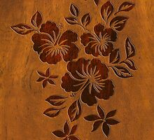 Lilikoi Hibiscus Faux Koa Wood Hawaiian Surfboard by DriveIndustries