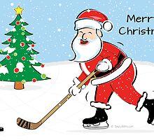 Hockey Santa Christmas Card by SaucyMitts