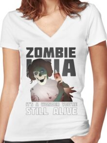 Zombie Leia Women's Fitted V-Neck T-Shirt