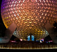 Spaceship Earth at Night by mister-matt
