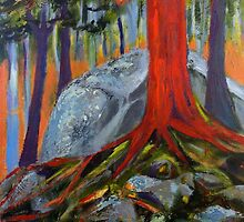 Red Tree and Roots by Holly Friesen