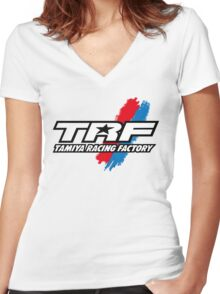 TRF Tamiya Racing Bandai Art Blue Red Remote Women's Fitted V-Neck T-Shirt