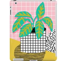 Get Real - potted plant throwback retro neon 1980s style art print minimal abstract grid lines shape iPad Case/Skin