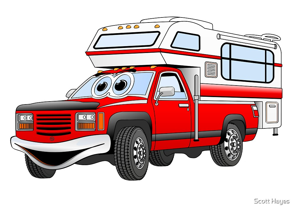 Red Cartoon Pick Up Camper by Graphxpro