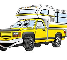 Yellow Cartoon Pick Up Camper by Graphxpro