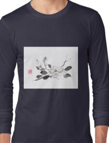 White queen sumi-e painting Long Sleeve T-Shirt