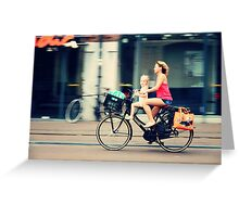 Rejecting the Automobile. Sporty Mum and Sporty Me. Amsterdam Greeting Card