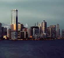 Miami Skyline at Sunset by DDMITR