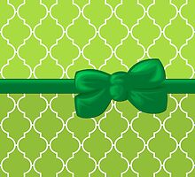 Ribbon and Bow, Moroccan Trellis White Green by sitnica