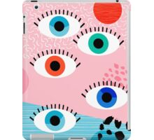 Noob - eyes memphis retro throwback 1980s 80s style neon art print pop art retro vintage minimal iPad Case/Skin