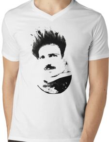 Postmodern Tesla Black Mens V-Neck T-Shirt