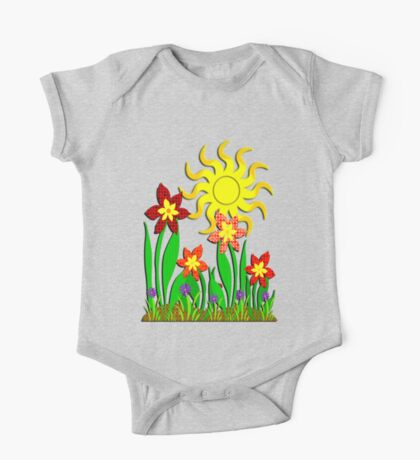 Fanciful Flowers One Piece - Short Sleeve