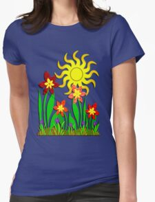 Fanciful Flowers Womens Fitted T-Shirt
