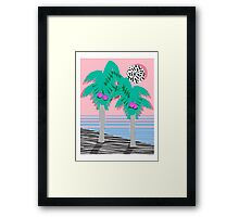 Most Definately - palm tree throwback memphis style retro art print 80s 1980 neon palm springs Framed Print