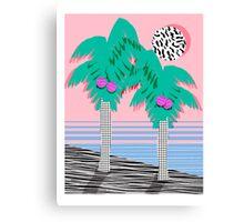 Most Definately - palm tree throwback memphis style retro art print 80s 1980 neon palm springs Canvas Print