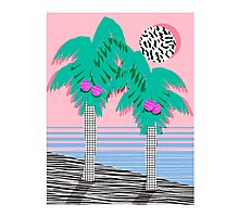 Most Definately - palm tree throwback memphis style retro art print 80s 1980 neon palm springs Photographic Print