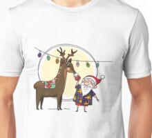 Christmas Deer and Santa Unisex T-Shirt