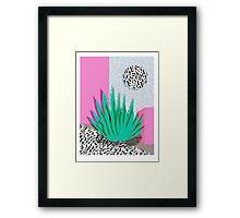 Dag - throwback memphis 1980s neon art pink pastel pattern black and white minimal art design urban Framed Print