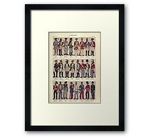 Illustrations of military uniforms from  by René L'Hôpital. Framed Print