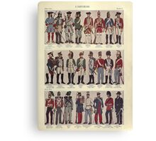 Illustrations of military uniforms from  by René L'Hôpital. Canvas Print