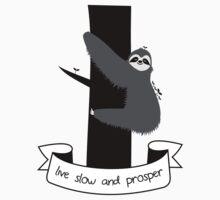live slow and prosper sloth Kids Tee