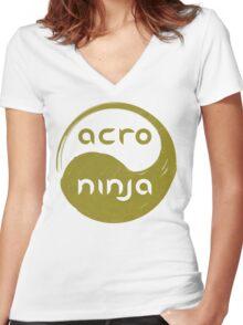 Acro Ninja - gold Women's Fitted V-Neck T-Shirt