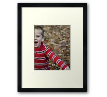 Laughing in the Leaves  Framed Print