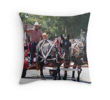 Horse Drawn Cart Throw Pillow