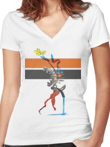 FlowersFireWater Women's Fitted V-Neck T-Shirt