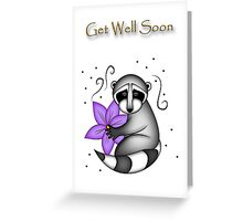 Get Well Soon Raccoon Greeting Card