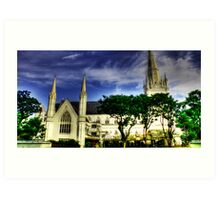 Urban Landscape Singapore, St. Andrews Catheral Art Print
