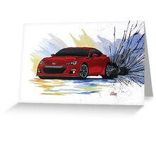 Red Subaru BRZ Watercolor Drift Painting Greeting Card