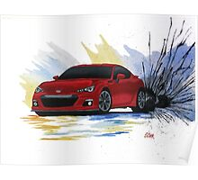 Red Subaru BRZ Watercolor Drift Painting Poster