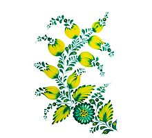 Floral unique painting in lime colors Photographic Print