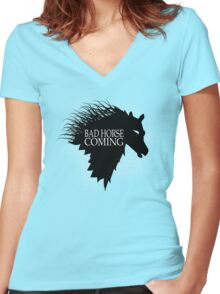 Bad Horse is Coming Women's Fitted V-Neck T-Shirt