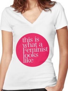 this is what a Feminist looks like RED Women's Fitted V-Neck T-Shirt
