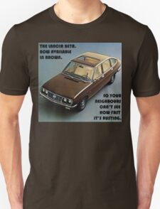 Lancia Beta - Now Available in Brown Unisex T-Shirt