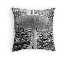 Amanita Mushroom In Black And White Throw Pillow