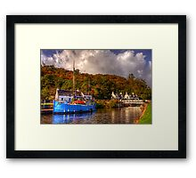 Blue Boat on the Crinan Canal Framed Print