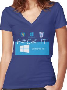 Windows 10 Funny Women's Fitted V-Neck T-Shirt