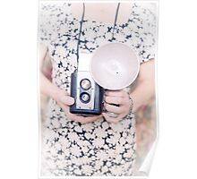 Woman with vintage camera Poster
