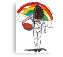 little girl on the beach with a beach ball and rainbow Canvas Print