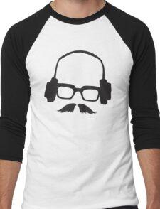 Hipster Face Portrait Music Mustache Glasses Men's Baseball ¾ T-Shirt