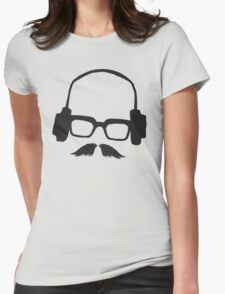 Hipster Face Portrait Music Mustache Glasses Womens Fitted T-Shirt