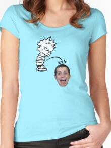 calvin peeing on mike matei Women's Fitted Scoop T-Shirt