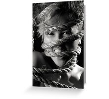 Young woman with rope around her face art photo print Greeting Card