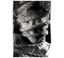 Young woman with rope around her face art photo print Poster