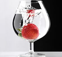 Strawberry in a Glass art photo print by ArtNudePhotos