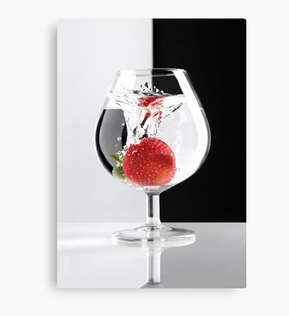 Strawberry in a Glass art photo print Canvas Print