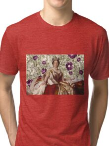 Queen Victoria - White Floral Tri-blend T-Shirt